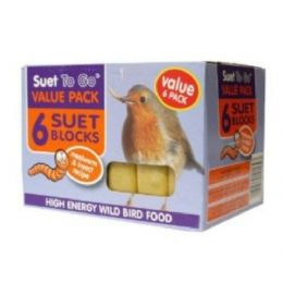 6 Pack of Wild Bird Suet Block Mealworms and Insect 300g for Bird Feeders